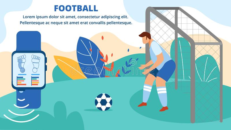 Football Sportsman Stand on Gate Horizontal Banner. Football Horizontal Banner. Sportsman Stand on Gate, Goalkeeper Playing Soccer Game Protect Goal from stock illustration