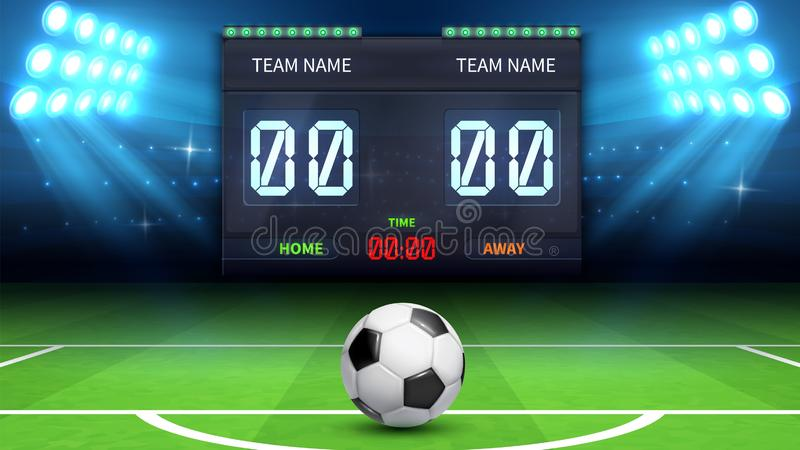 Football stadium background. Realistic soccer ball in green field. Stadium electronic sports scoreboard with soccer time royalty free illustration