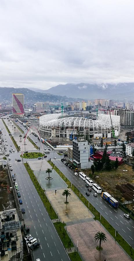 Football stadium in batumi under construction royalty free stock photography