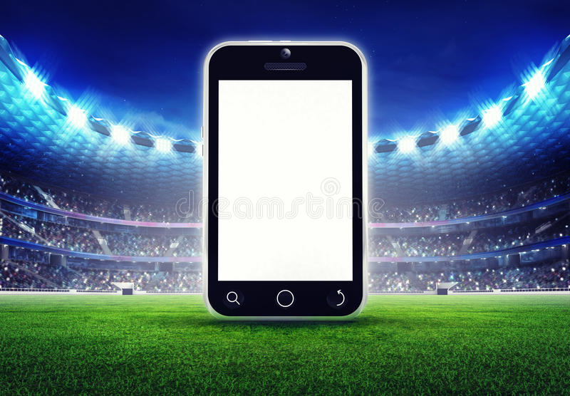 Football stadium with empty cell phone display stock illustration