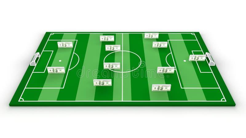Football stadium. Green football stadium and eleven money stock illustration
