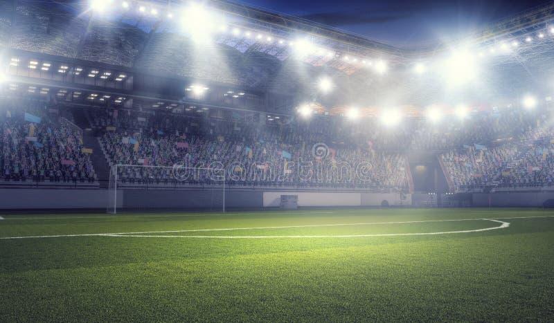 football stadium in lights   mixed media stock photo
