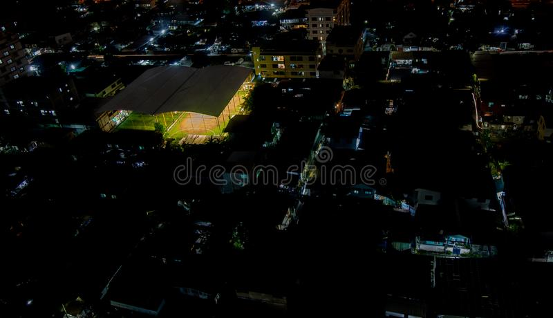 Football stadium night in the city. Soccer , footsal royalty free stock images