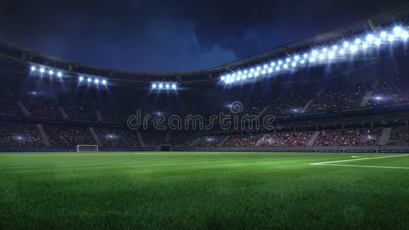 Modern football stadium illuminated by floodlights and empty green grass. Football stadium sport theme digital 3D background advertisement illustration my own vector illustration