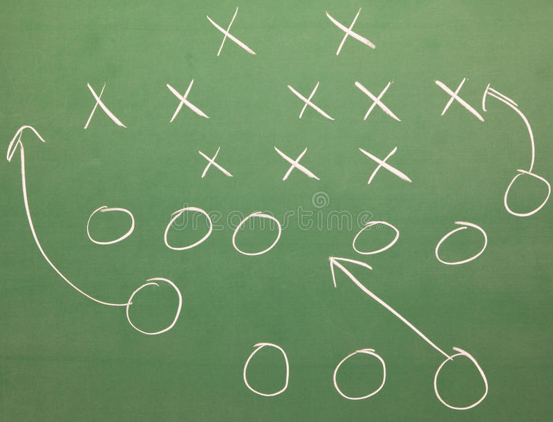 Football strategy. On a blackboard royalty free stock images