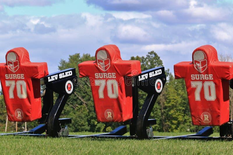 Football tackling sleds royalty free stock photography