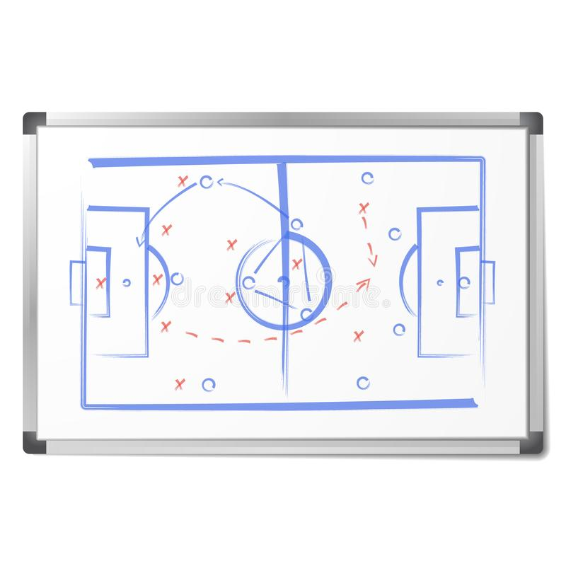 Football tactic scheme was drawn with markers on the whiteboard vector illustration
