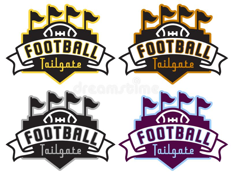 Football Tailgate Party Logo in Four Team Colors. With stadium flags artwork design stock photo