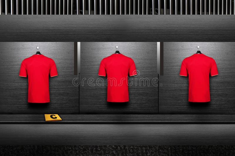 Football team shirt. Is neat on changing room stock photography