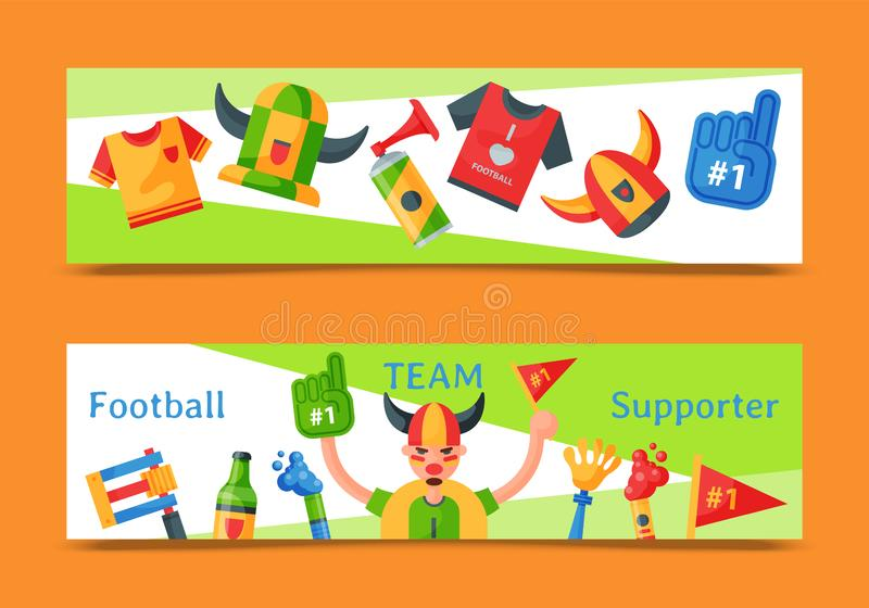 Football team supporter set of banners vector illustration. Soccer sport fan attribute, rooter buff man accessories and vector illustration