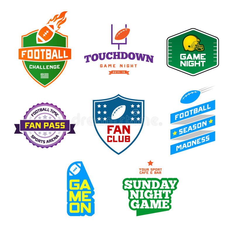 Football themed badges royalty free illustration