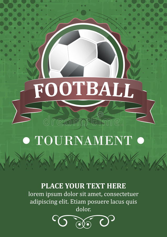Football tournament background. Design with soccer ball, ribbon and laurel wreath royalty free illustration