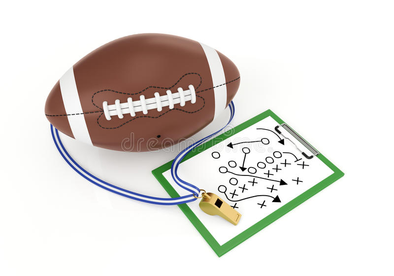 Football_usa. A football and a whistle - 3d render illustration stock illustration
