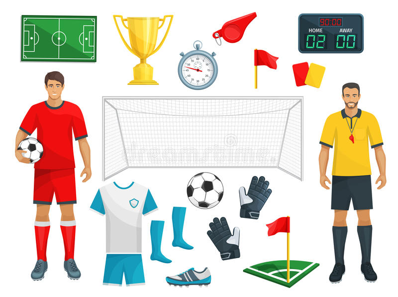 Football vector icons set of soccer sport game royalty free illustration