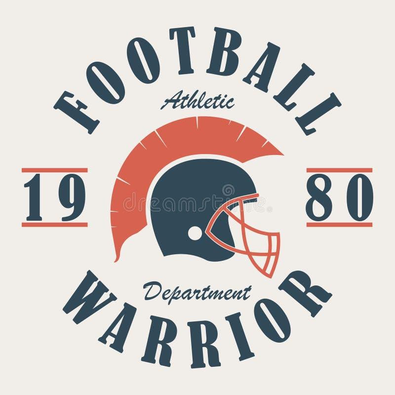 Football Warrior - t-shirt graphics with helmet. Print for sportswear, apparel, clothes. Sport logo. Vector. stock illustration