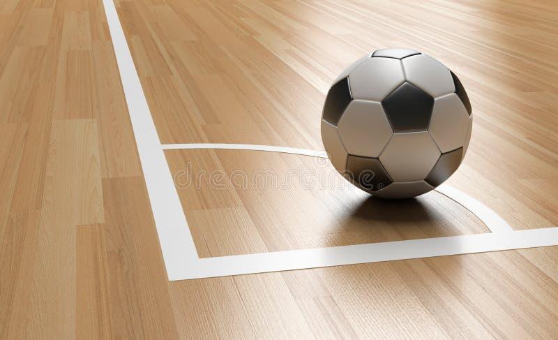 Football on Wooden Court Floor Corner. Close up with light reflection.Soccer court Futsal 3D rendering vector illustration