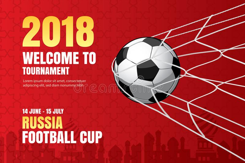 Football 2018 world championship background of soccer sport design. Use for web banner, ads, poster, brochure, flyer, cover, card. S, invitations royalty free illustration
