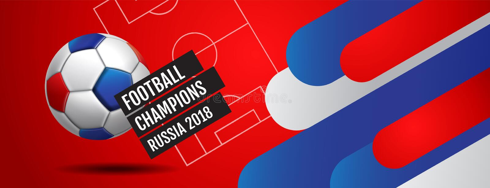Football 2018 world championship cup background soccer, Russia royalty free illustration