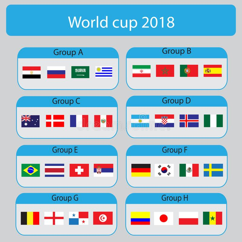 Football World championship groups. World cup 2018 all group. Vector illustration. royalty free illustration
