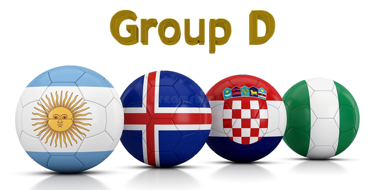 Football World championship groups 2018 - Group D represented by classic soccer balls painted with the flags of the countries royalty free illustration