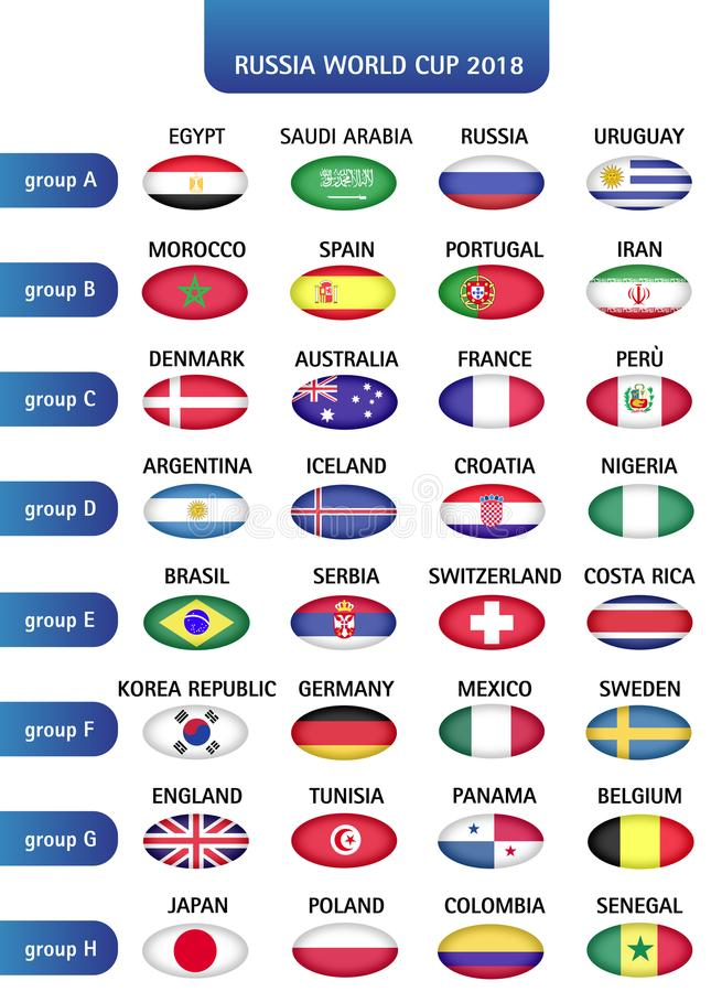 Football World championship groups. Vector country flags royalty free illustration