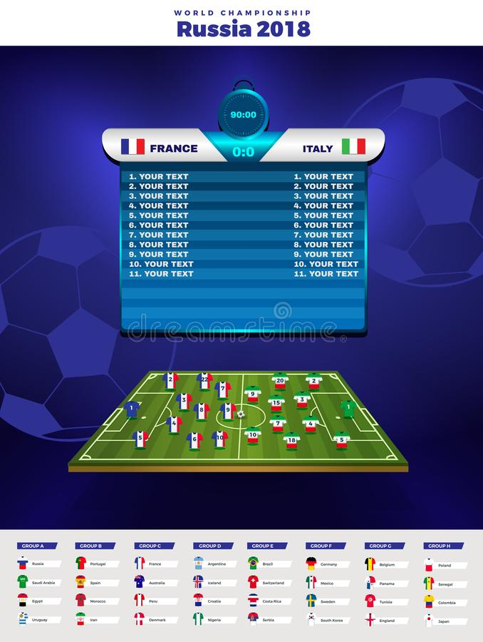 Football World championship groups. Vector country flags. 2018 soccer world tournament in Russia. royalty free illustration