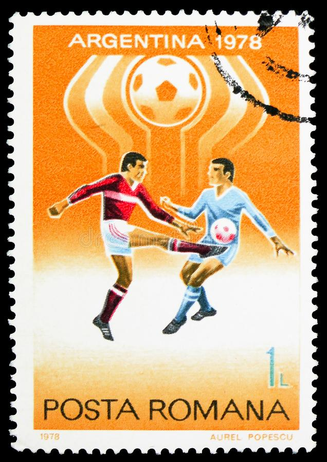 Football World Cup 1978, Argentina, serie, circa 1978. MOSCOW, RUSSIA - FEBRUARY 10, 2019: A stamp printed in Romania shows Football World Cup 1978, Argentina stock images