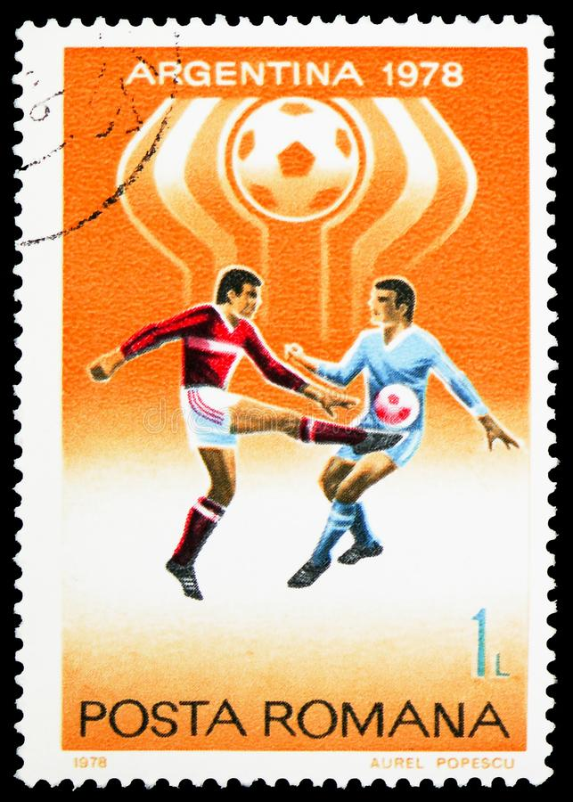 Football World Cup 1978, Argentina, serie, circa 1978. MOSCOW, RUSSIA - FEBRUARY 10, 2019: A stamp printed in Romania shows Football World Cup 1978, Argentina stock photography