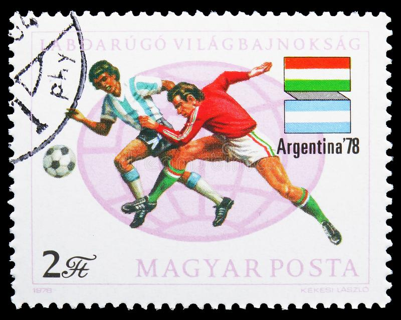 Football World Cup 1978, Argentina, serie, circa 1978. MOSCOW, RUSSIA - JULY 19, 2019: Postage stamp printed in Hungary shows Football World Cup 1978, Argentina stock photography
