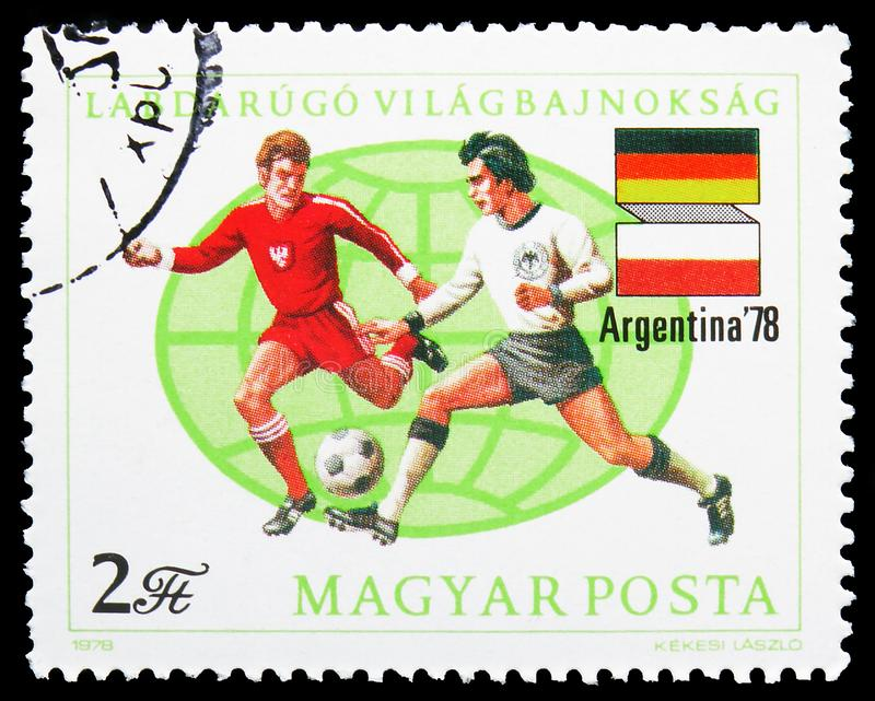 Football World Cup 1978, Argentina, serie, circa 1978. MOSCOW, RUSSIA - JULY 19, 2019: Postage stamp printed in Hungary shows Football World Cup 1978, Argentina royalty free stock photos