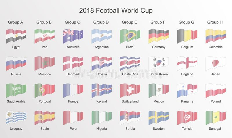 Football World Cup 2018 flag. Line flag icon isolated, vector il royalty free illustration
