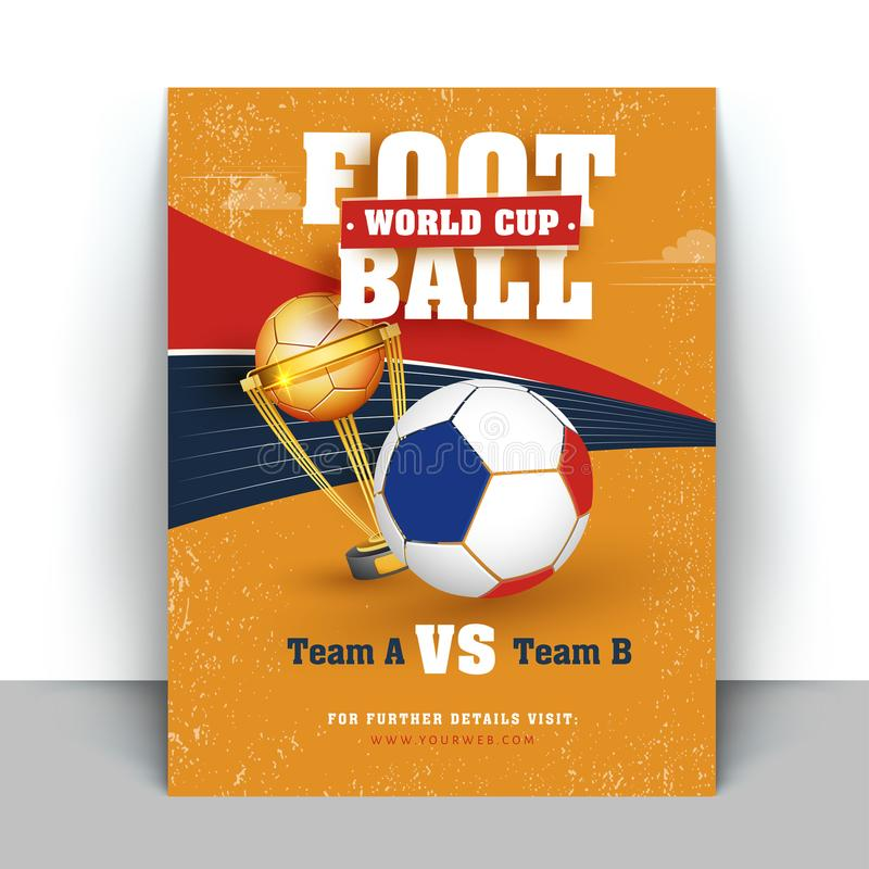 Football World Cup flyer or banner designs with match details an stock illustration