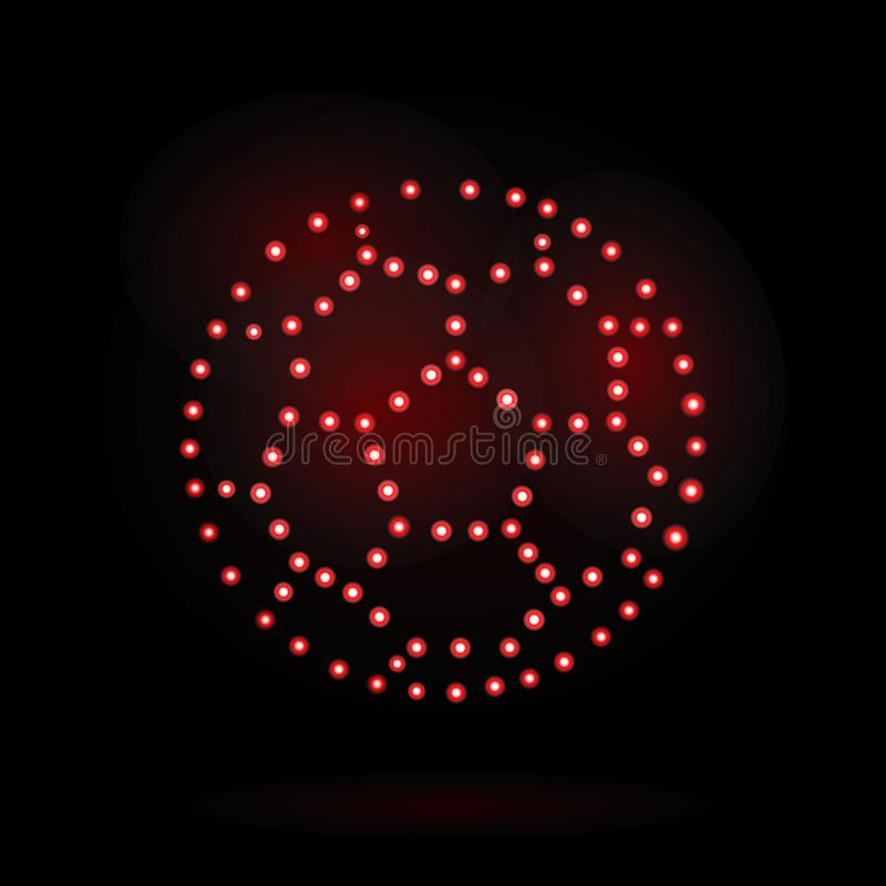 Football world Cup. neon ball design element isolated on black background for signboard, background, banner, Billboard. vector vector illustration