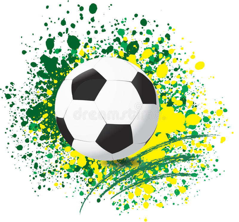 Football World cup on paint splash color background. Vector royalty free illustration