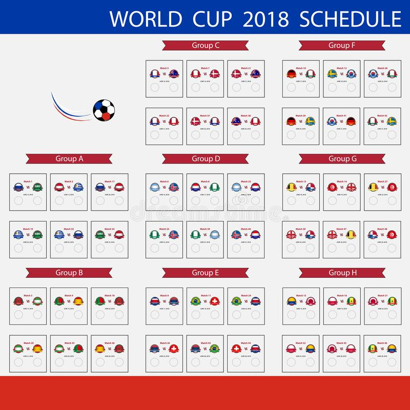 Football World Cup 2018 Schedule.International world championsh stock illustration