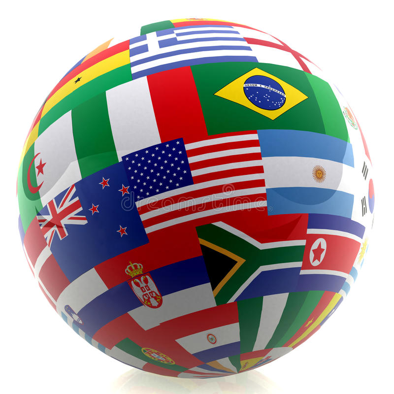 Football with world flags