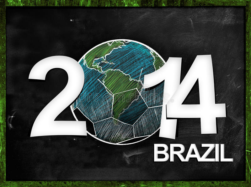 Football Year 2014 Blackboard vector illustration