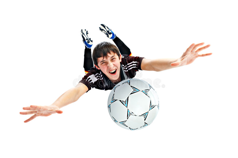 Footballer. Isolated on white background stock image