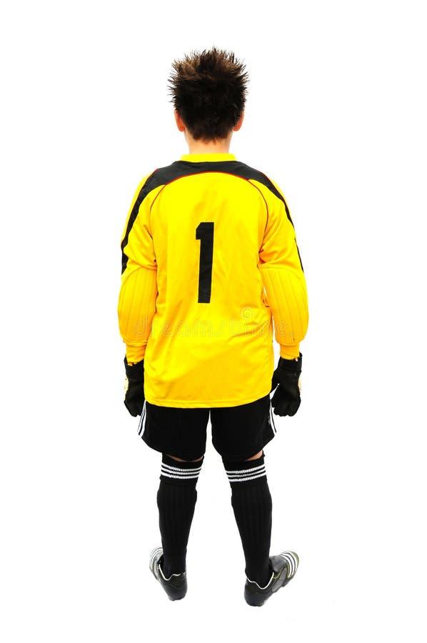Footballer. Shot of a footballer isolated on white stock photography