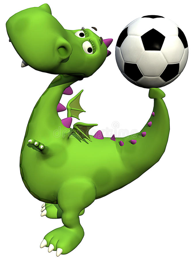 Free Footballer Dino Baby Dragon Green - Ball On Tail Royalty Free Stock Images - 14465129