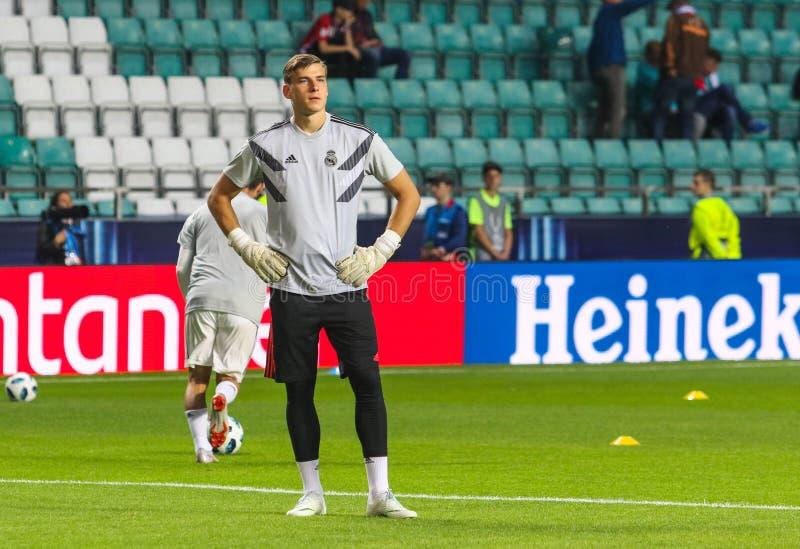 Footballer professionnel Andriy Lunin de Krainian images stock