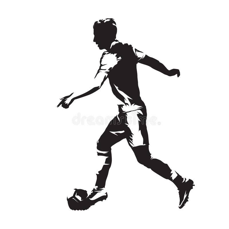 Footballer running with ball. Soccer player abstract isolated vector silhouette. Abstract european football athlete royalty free illustration