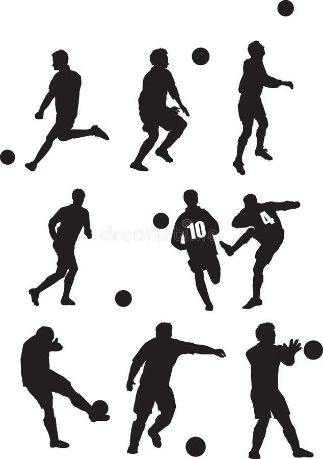 Footballer silhouette set