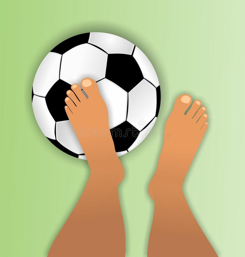 footballeur aux pieds nus illustration stock