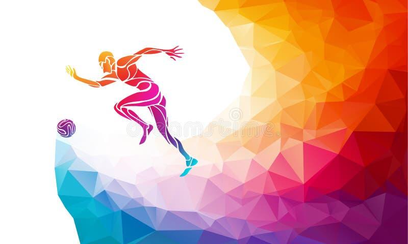 Footballeur avec la bille Le footballer donne un coup de pied la boule dans le style coloré abstrait à la mode de polygone illustration de vecteur