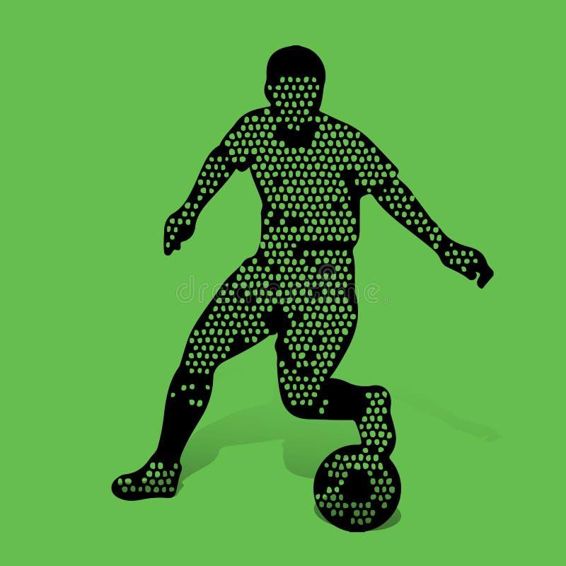 Footballeur avec la boule dans jouer de mouvement Mosaïque abstraite f illustration de vecteur