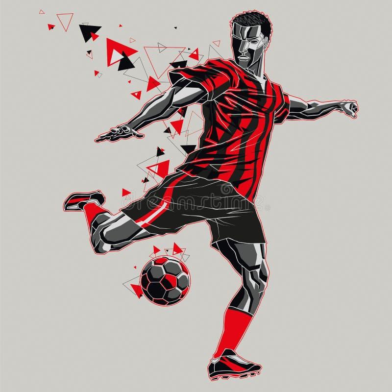 Footballeur avec un uniforme de traînée, rouge et noir graphique illustration de vecteur
