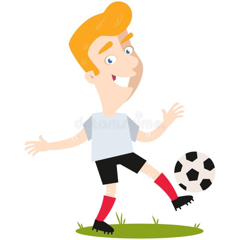 Footballeur caucasien blond de bande dessinée donnant un coup de pied la boule illustration de vecteur