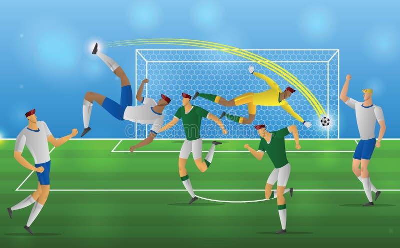 Footballeur dans le coup-de-pied aérien d'action sur le fond de stade illustration libre de droits