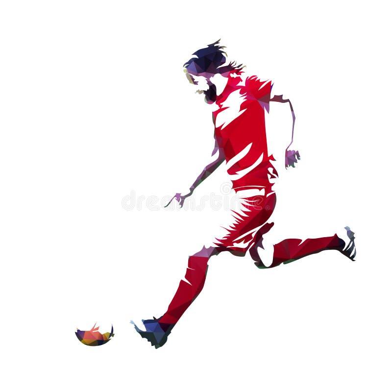 Footballeur dans le débardeur rouge fonctionnant avec la boule illustration libre de droits